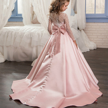 Ball-Gown Party-Dress Flower-Girl-Dresses Satin Long-Sleeve Wedding Lace Pink Bow Illusion