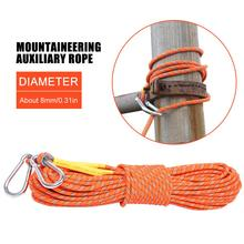 8MM Thickness 10M Outdoor Climbing Rope Safety Escape Rope With Carabiner Survival Equipment For Mountaineering Rock Climbing