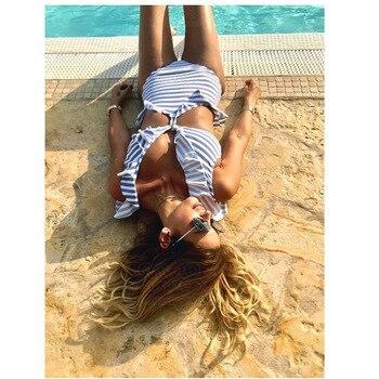 Qeils One Piece Swimsuit 2021 Sexy Swimwear Women Striped Ruffled Bandage Push Up Padded Bathing Suit Beach Bather Monikini 2