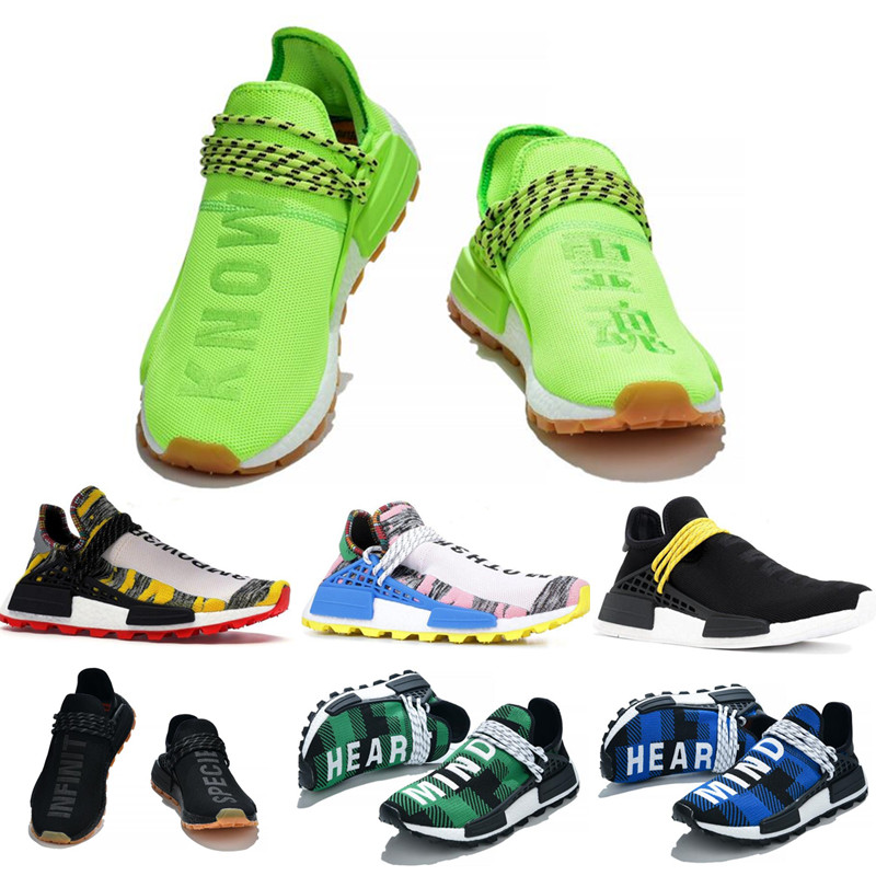 2019 Human Race Mens Running Shoes Inspiration Pack Pharrell Williams Sample Yellow Core Black Sport Designer Sneakers 36-45