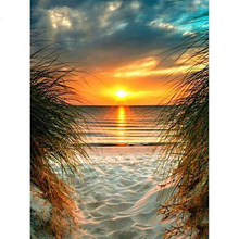 Yi diamante brilhante bordado quadrado completo pôr do sol mar pintura diamante paisagem mosaico strass kits de imagem kit artesanato
