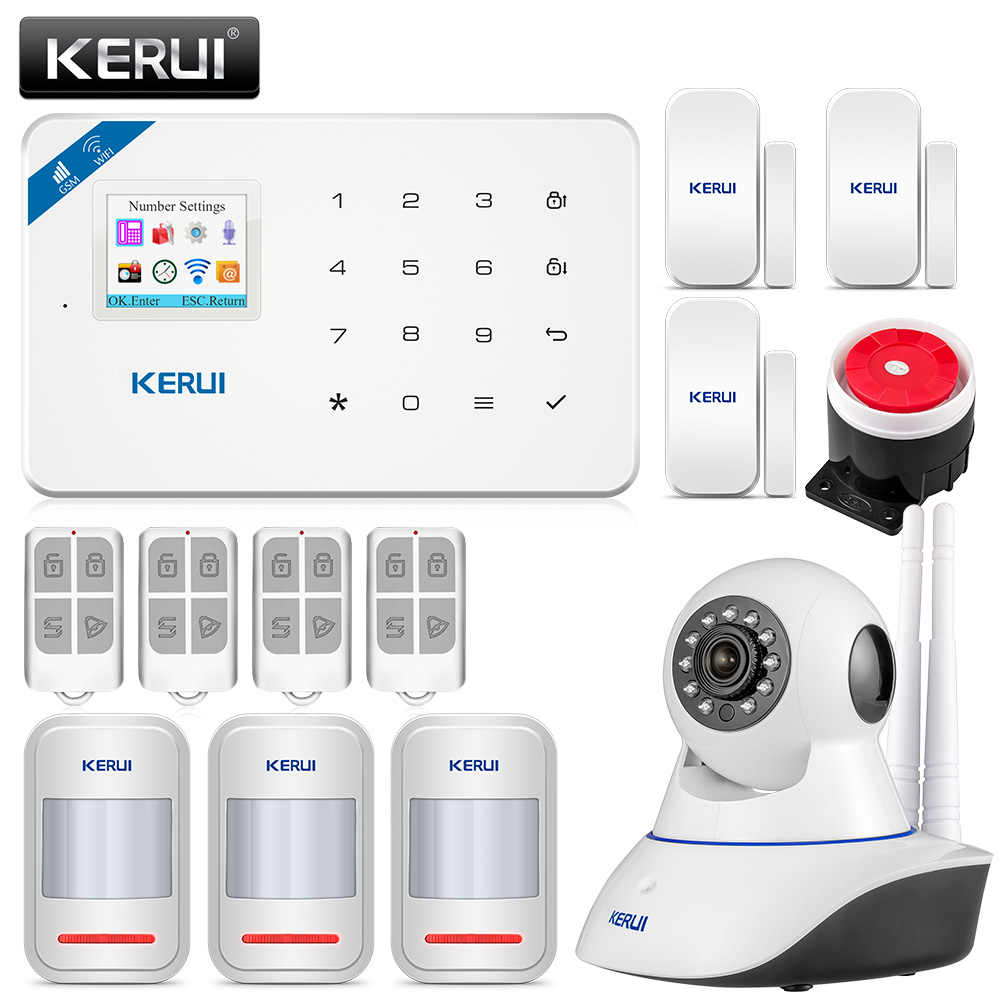 KERUI W18 1.7 นิ้ว TFT หน้าจอ WIFI GSM Home Burglar Security ALARM System Motion Detector APP ควบคุม Fire Smoke Detector นาฬิกาปลุก