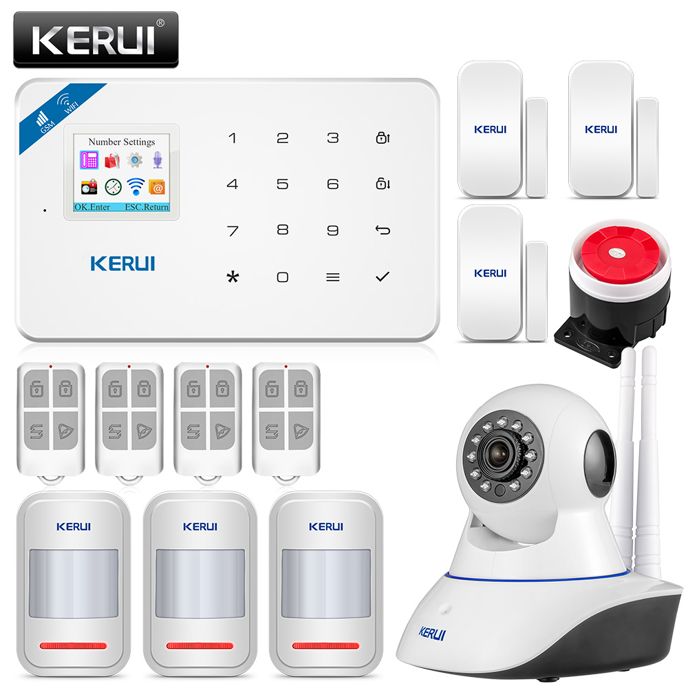 KERUI W18 Schermo TFT Da 1.7 Pollici WIFI GSM Antifurto Casa Sistema Di Allarme Di Sicurezza Rilevatore Di Movimento APP Di Controllo Fuoco Rivelatore Di Fumo Di Allarme