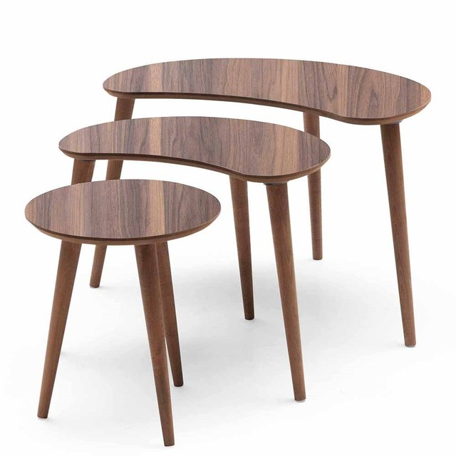 3 PCs Crescent Shaped Coffee Table  4