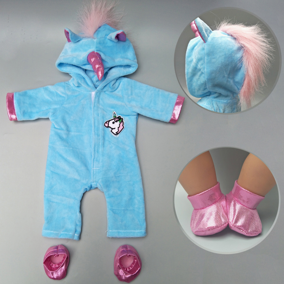 Doll Clothes For 43cm Baby Reborn Doll Jacket Unicorn Hoodie Set Baby Dolls Clothes Christmas New Year Outfit For Doll