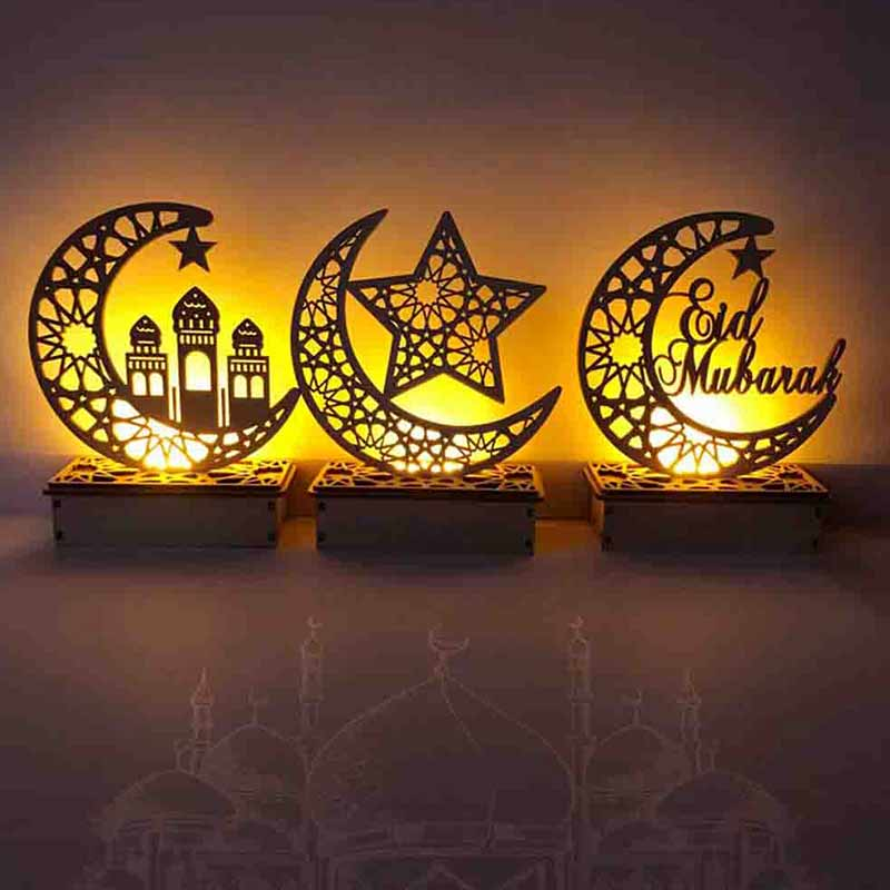 Islamic palace home moon LED candle lights Eid Mubarak event party supplies decoration
