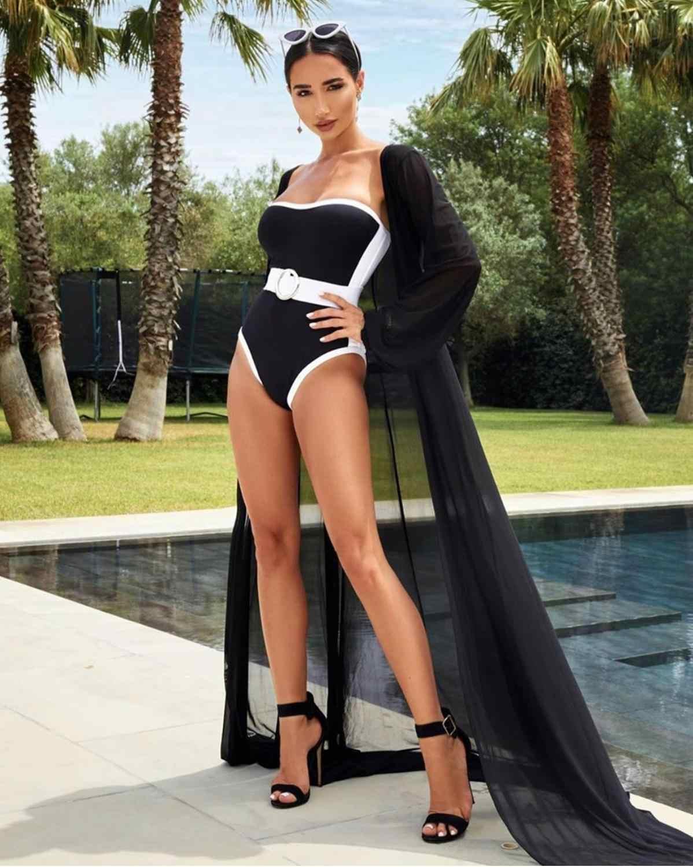 Пляжная мода сексуальный без бретелек Белый Черный бандажный купальник 2019 знаменитый дизайнер модная пляжная одежда боди