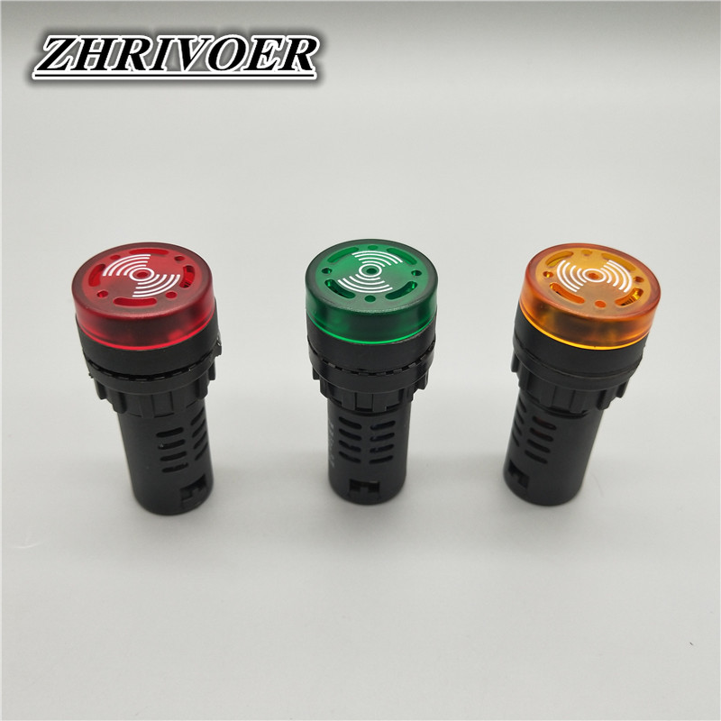 1Pcs 22mm AD16-22SM 12V 24V 110V 220V LED Flash Signal Light Audible Buzzer Warning Light Red Green Yellow Black