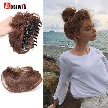 AOSIWIG синтетический парик, короткие кудрявые чёрный; коричневый шиньон волос пончик волосы на заколках прическа 'в парик, заколки, заколки дл...