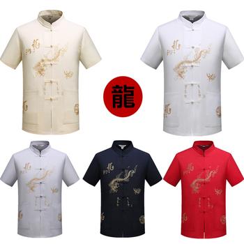 15 kolorów tradycyjna chińska odzież dla mężczyzn koszulka letnia z krótkim rękawem haft smoka nowy strój Tang męska bluzka M-3XL tanie i dobre opinie Poliester Czesankowej Dragon 15Color 40 L 41 XL 42 2XL 43 3XL 39 M Short sleeve Male clothes Traditional chinese clothing for men