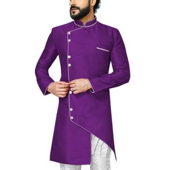 Wedding Groom Men Robe Mandarin Collar Mens Indo Western Special Dinner Party Modest Coat Contrast Color Event Blazer Jacket 1