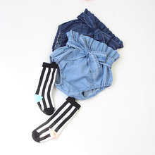 Novo jeans plissado bloomers criança marca bebê menina pp shorts 2021 verão meninas roupas capa de fralda para o bebê