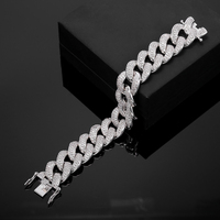 Luxury Wide Flat Curb Cuban Chain Bracelet For Men Women Yellow/Rose Gold Color Big CZ Punk Jewelry Gift Bracelets