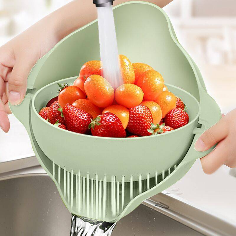 Rotatable Wheat Straw Double Layer Drain Basket Kitchen Washing Fruit Vegatable Cleaning Basin Tub Pot Fruit Basket Drain Plate