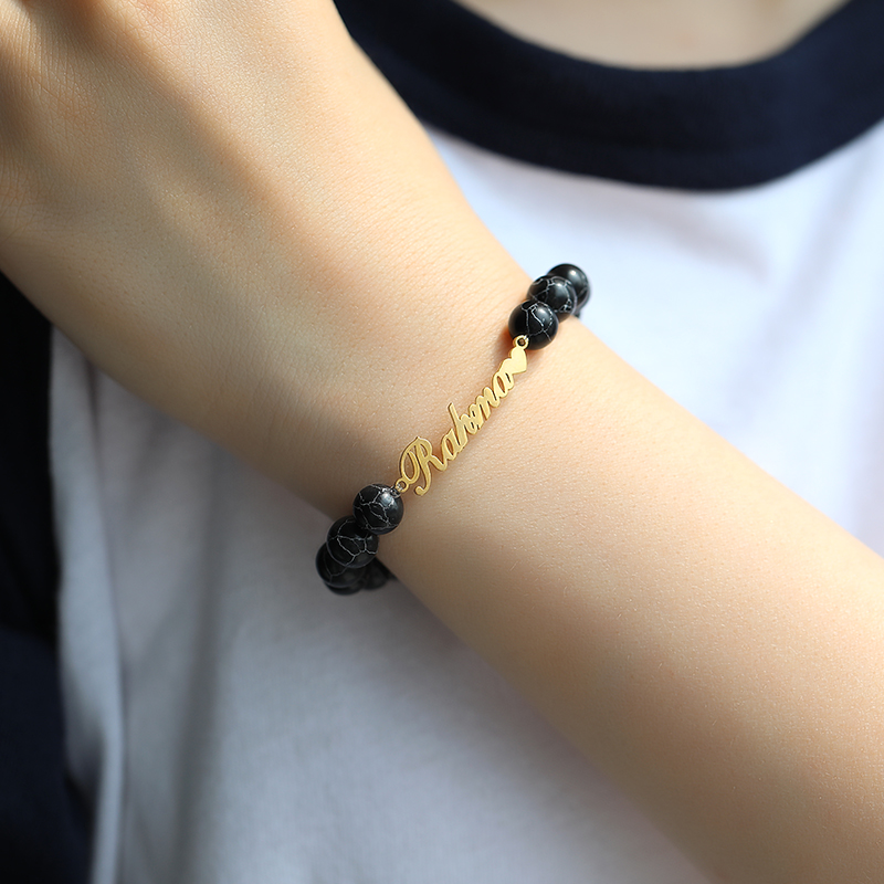 Classic Turquoise Custom Name Bracelet Natural Stone Personalized Bracelets for Women Jewelry Armband Pulseras Mujer Moda 2019