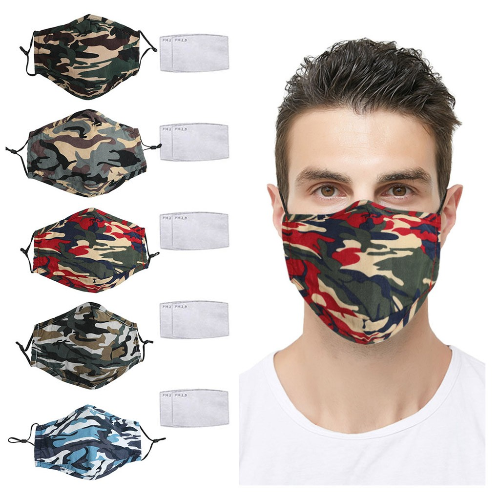 Camouflage Mask For Adult Mouth Mask With 2pc Filter Washable Fabric Dustproof Outdoor Protective Face Mask Mondmasker