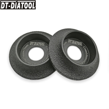 DT-DIATOOL 2pcs 75mmx15mm Vacuum Brazed Demi-bullnose Edge Profile Diamond Grinding Wheel Marble Granite Stone Profile, Grit #60 dt diatool 2pcs m14 dia 12mm dry vacuum brazed diamond drill core bits ceramic tile hole saw granite marble stone drilling bits