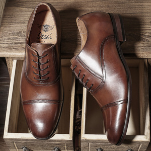 Image 3 - דסאי מותג מלא גרגרים עור עסקי גברים שמלת נעלי רטרו פטנט עור אוקספורד נעלי גברים גודל האיחוד האירופי 38 47