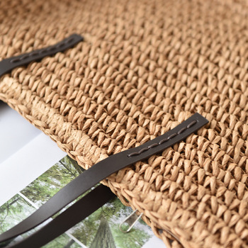 Women Handbag Summer Beach Bag Rattan Woven Handmade Knitted Straw Large Capacity Totes Leather Women Shoulder Bag Bohemia New 6
