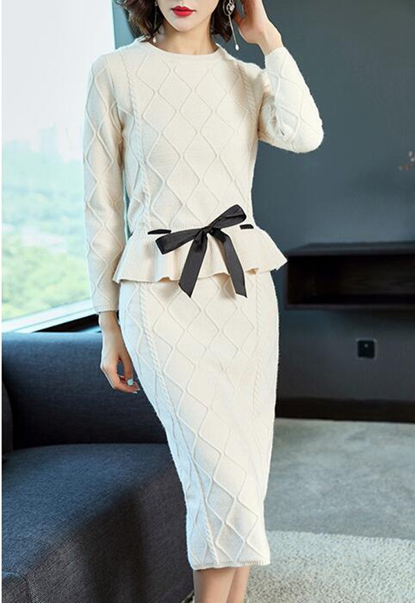 High-end Ladies Knitted Skirt Suit Female 2019 Autumn and Winter Sashes Bow tie Long-sleeved O-neck Sweater and Split Skirt Sets 33
