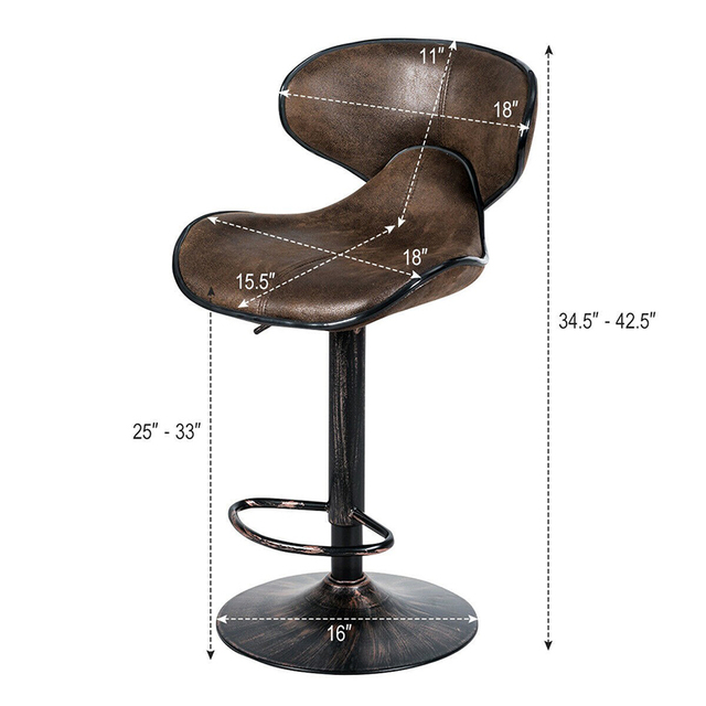 Set of 2 Adjustable Bar Stools Counter Height Chairs Unique Hot-stamping Cloth Seat Bar Chair 6