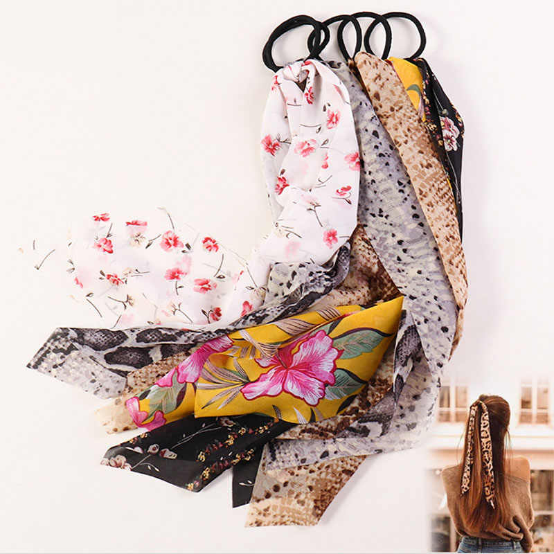 2020 summer Floral Ponytail Scarf Elastic Hair Rope for Women Hair Bow Ties Scrunchies Hair Bands Flower Print Ribbon Hairbands