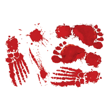 Halloween Horror Blood Hands Feet Living Rooms Walls Red Pvc Stickers Decorations for Home
