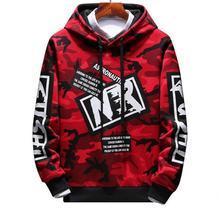 Yiwa Hoodies Hip-hop Style Camouflage Pattern Printing Stylish Hoody High Quality Long Sleeve Boy Slim Coat Clothing letters