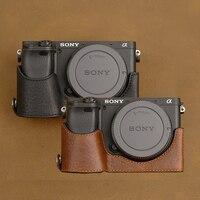 AYdgcam Artesanal de Couro Genuíno Saco Da Câmera de caixa Da Câmera Para Sony A6400 A6300 A6000 Meia Pega Da Tampa Do Caso Do Vintage|leather camera case|camera case|camera case for sony -