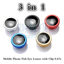 цена на Universal 3 In 1 Mobile Phone Camera Lens Kit Fish Eye Wide Angle Macro Clip Lens On For IPhone Samsung Xiaomi Huawei Smartphone