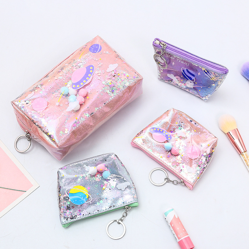 Simple And Stylish Cosmetic Bag Quicksand Star Travel Coin Storage Bag Durable Waterproof Hand To Take Bags Key Bag