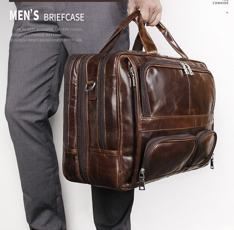 MAHEU Big Leather Briefcase Double Layer Genuine Leather Office Business Bags For Layer Doctor Real Leather Laptop Briefcase 17