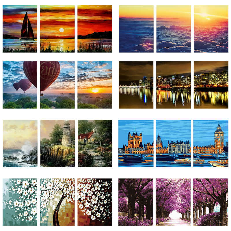 coloring by numbers acrylic paint for painting scenery for bedroom wall colors pictures 40X50X3 cheap modern painting R3018