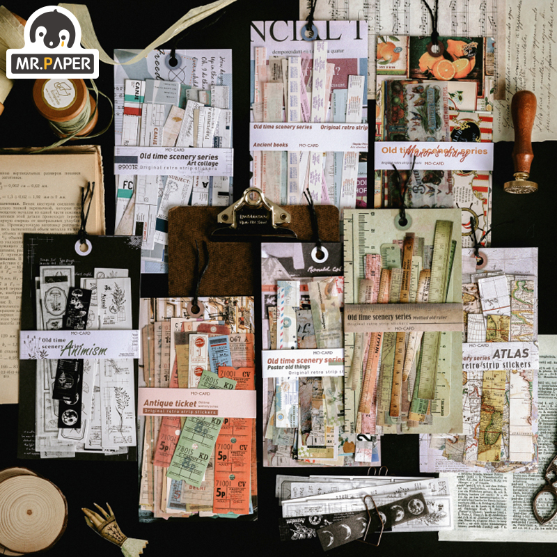 Mr.paper 30Pcs/pack 8 Designs Old Time Scenery Antique Ticket Artistic Stickers Bullet Journal Deco Stationery Children Stickers