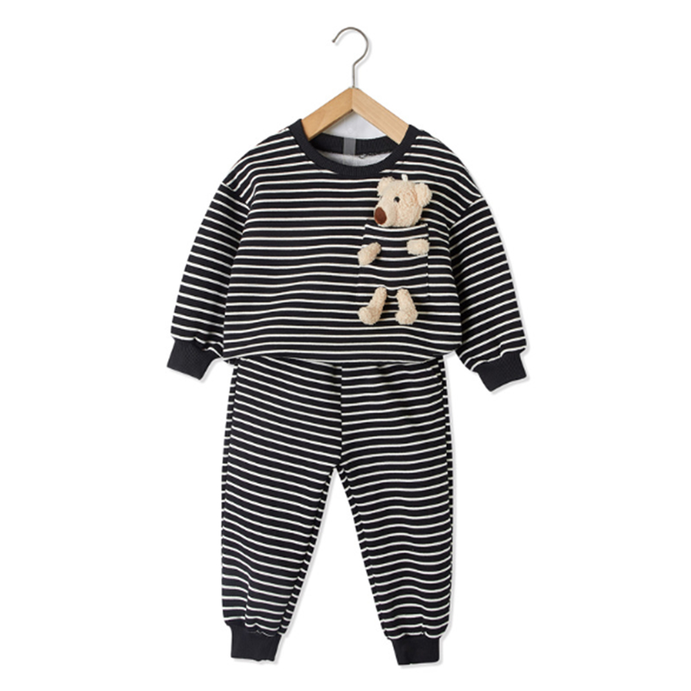 Mudkingdom Winter Autumn Girl Clothes Set  Striped Outfits with Bear Plush Toy Casual Kid Clothes 2