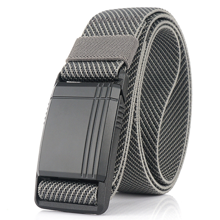 New Elastic Belt For Men Slide Metal Magnetic Buckle Adjustable Male Trousers Belts Military Combat Tactical Belts High Quality