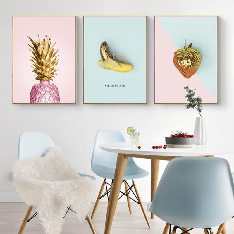 Pineapple Strawberry Wall Art Prints Modern Pink Girl Room Canvas Painting Fashion Poster Home Decor
