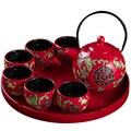 Китайский красный керамический чайный сервиз  домашний чайник  6 чайных чашек  кунг-фу  черный чай Jin Jun Mei  креативная Свадебная подарочная ко...