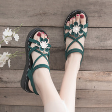 summer fashion flower sandals woman ankle strap flat shoes women flats beach slides dress with sandal