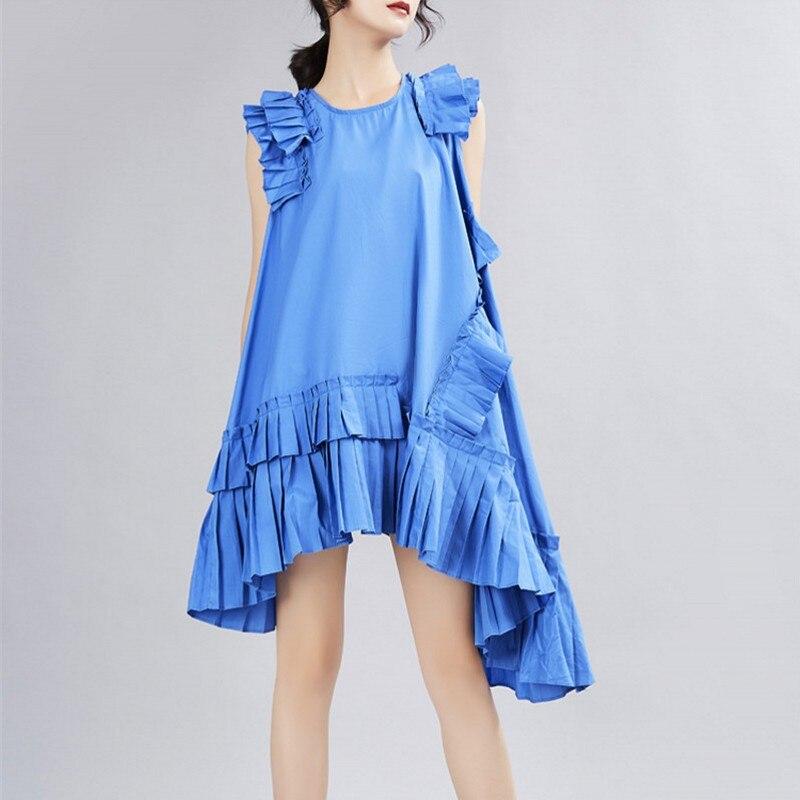 Irregular Pleated Dress Women 2020 Summer Patchwork Fashion Goddess Fresh Style Ruffles Chic A-line Dress For Female