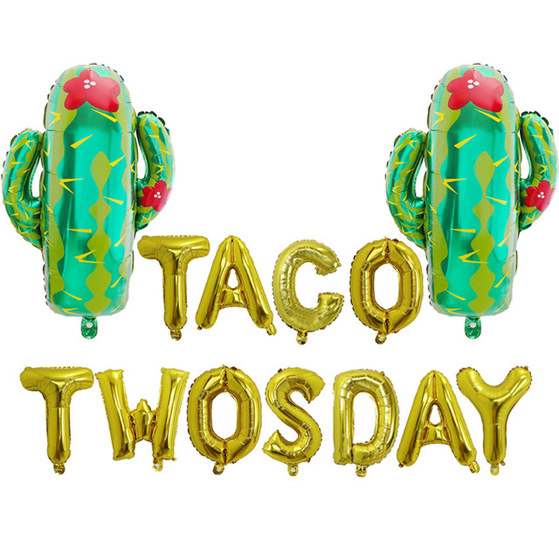 """13pcs/lot 16inch Gold Silver Cactus Goblet Letter """"TACO TWOSDAY"""" Aluminum Balloon Mexican Carnival Summer baby Party Decoration