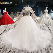 HTL1046 Halter Sequin White Wedding Dress Illusion Wedding Dress Sleeves Cut Out Pearl Rhinestone Zip gothic wedding dress