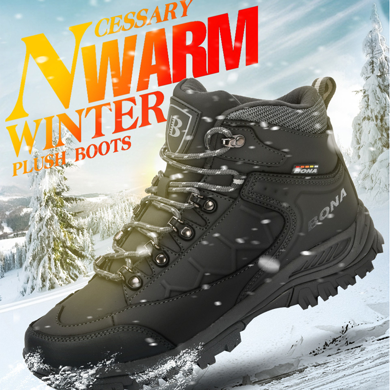 BONA New Leather Hiking Shoes Men Autumn Winter Climbing Boots High Top Trekking Hunting Shoe Trainers Black Waterproof Sports|Hiking Shoes|   - AliExpress