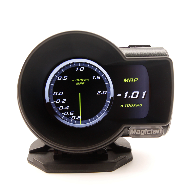 Profession Magician OBD Head Up Display Car Digital Boost Gauge Voltage Speed Meter ect Water Temp Alarm Auto Diagnostic Tool in Boost Gauges from Automobiles Motorcycles