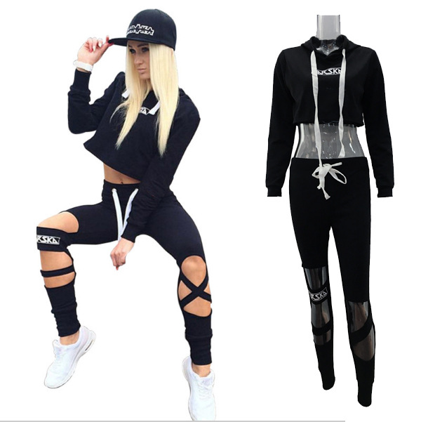 2017 Ozhouzhan Cool Slim Fit With Holes Casual Pants Hoodie Casual Sports WOMEN'S Suit Fashion