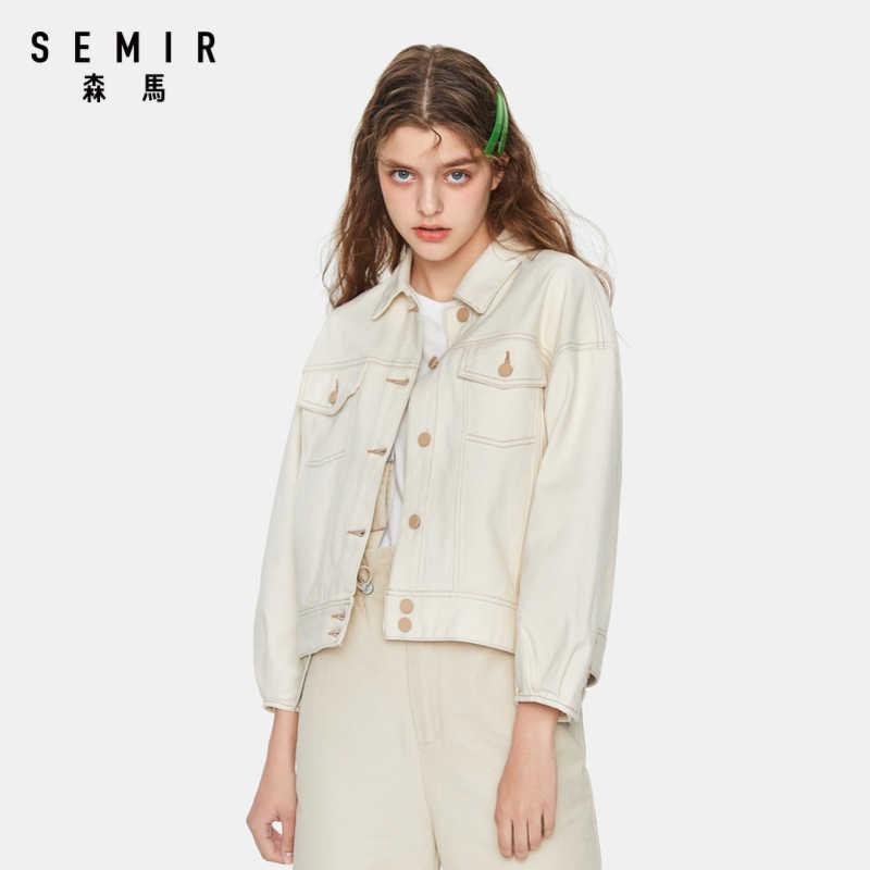 SEMIR Women 100% 코튼 오버 사이즈 데님 자켓 여성 데님 자켓 가슴 포켓 경사 포켓 세련된 스타일의 아웃웨어