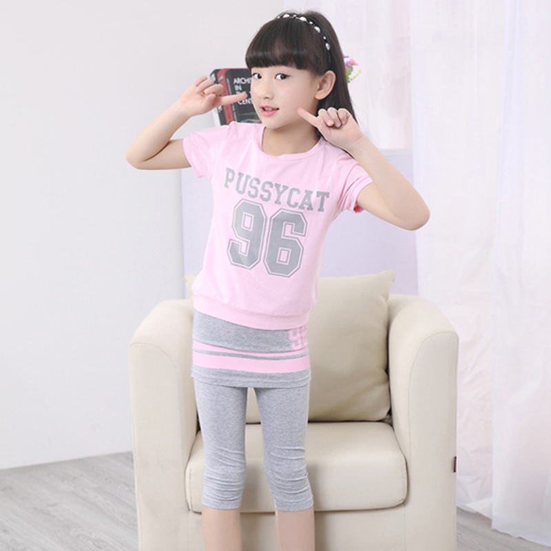 Girls Sports Suits Jogging Summer Kids Clothing Set Girls Short Sleeve Tshirt + Leggins Sweatsuit Little 2020 Casual Tracksuit