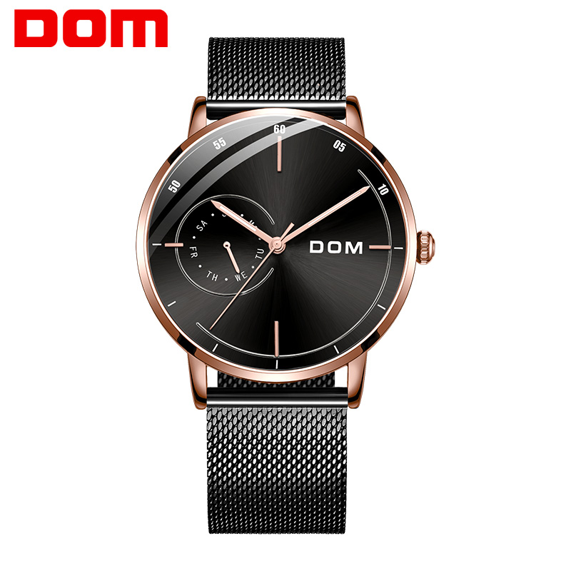 Men Ultra Thin Quartz Watch DOM Luxury Wrist Watches Casual Business Leather Watches Rose Gold Waterproof Man Clock M-1273GK-1M