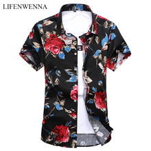 Mens Shirt Short-Sleeve Slim-Fit Trend Casual Fashion Summer New Floral M-7XL Plus-Size