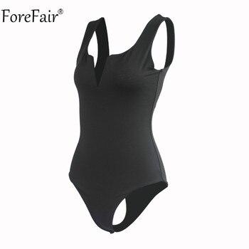 Forefair V Neck Sleeveless Sexy Bodysuit Women Summer Romper White Black Backless Bodysuit Body Top 8